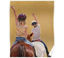 Follow the Leader - Children Taking a Horseback Riding Lesson. Poster