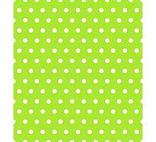 Small White Polka Dots on LimeGreen background Photographic Print