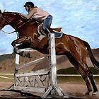 The Jumper - Horse & Rider Practicing Their Jumping Skills by Patricia Barmatz