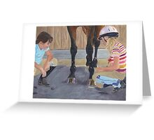 New Shoe Review - Children and Horses Greeting Card