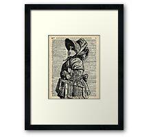 Edwardian girl with basket Vintage Illustration Dictionary Art Framed Print