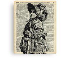 Edwardian girl with basket Vintage Illustration Dictionary Art Canvas Print