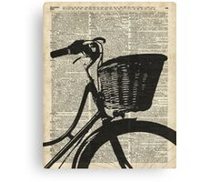 Vintage bicycle Dictionary Art Canvas Print