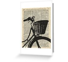 Vintage bicycle Dictionary Art Greeting Card