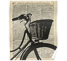Vintage bicycle Dictionary Art Poster