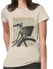 Vintage bicycle Dictionary Art Womens Fitted T-Shirt