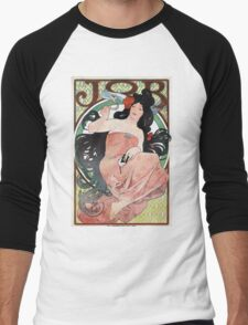 Alphonse Mucha - JOB rolling papers advertisement Men's Baseball ¾ T-Shirt