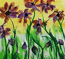 Flowers enjoy the sunny day, watercolor by Anna  Lewis