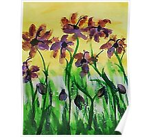 Flowers enjoy the sunny day, watercolor Poster