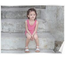 2 year old girl on stark concrete stairs Poster