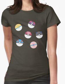 Cute Poke Balls Womens Fitted T-Shirt