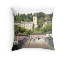 Walking across the bridge at Iron Bridge Throw Pillow