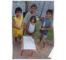 Kid's improvised pool table toy Poster