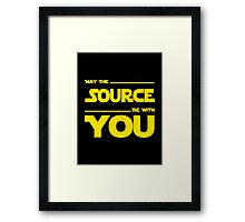 May The Source Be With You - Stars Wars Parody for Programmers Framed Print