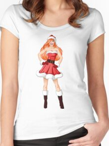 Woman Dressed In Sexy Santa Clothes For Christmas Women's Fitted Scoop T-Shirt
