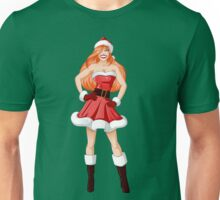 Woman Dressed In Sexy Santa Clothes For Christmas Unisex T-Shirt