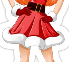Woman Dressed In Sexy Santa Clothes For Christmas Sticker