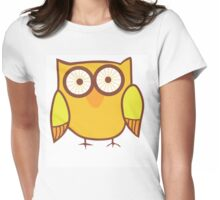 Cute Owl Orange Yellow Womens Fitted T-Shirt