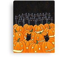 Black Cats & Jack-o-Lanterns Canvas Print