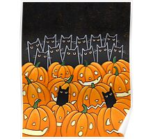 Black Cats & Jack-o-Lanterns Poster