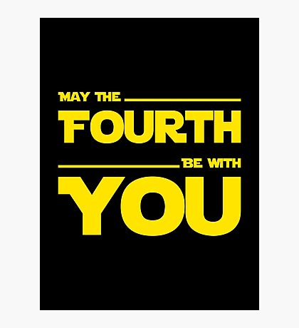 May The Fourth Be With You - Yellow/Dark Parody Design for Geeks Photographic Print
