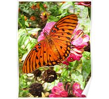 Fritillary on Zinnia Poster