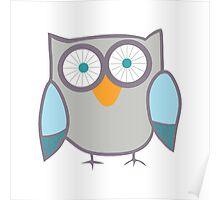 Cute Owl Blue Grey Poster