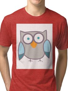 Cute Owl Blue Grey Tri-blend T-Shirt