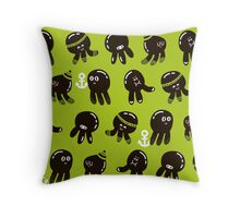 Black cute octopuses Throw Pillow