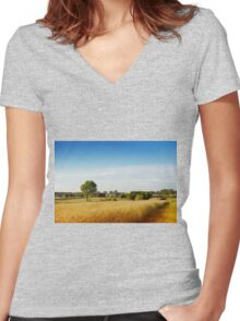 Rural wheat field view Women's Fitted V-Neck T-Shirt