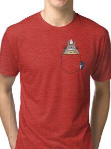 Totoro Pocket, With Little Totoro's Studio Ghibli Tri-blend T-Shirt