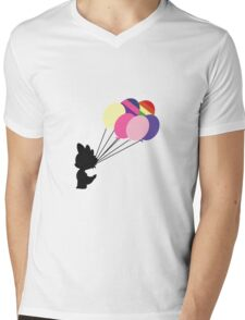 Black Spike Silhouette with Balloons Mens V-Neck T-Shirt