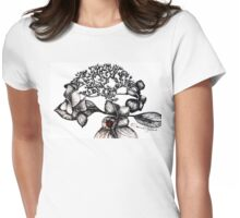 Hydrangea Lacecap with Ladybug Womens Fitted T-Shirt
