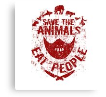 save the animals, eat people (red) Canvas Print