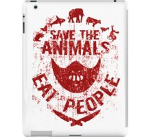 save the animals, eat people (red) iPad Case/Skin