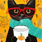 Pumpkin Coffee Cat by Ryan Conners
