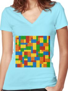 Plastic Blocks Women's Fitted V-Neck T-Shirt