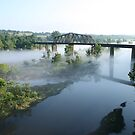Train Bridge Over Foggy River by Carolyn Chentnik