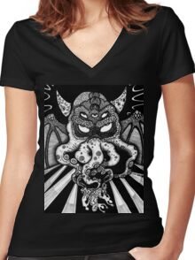 Cthulhu fhtagn: he waits, dreaming Women's Fitted V-Neck T-Shirt