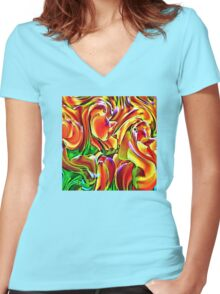 Twisted Tulips Women's Fitted V-Neck T-Shirt