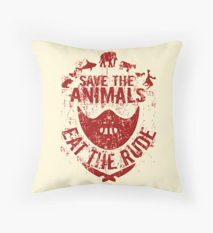 save the animals, eat the rude (red) Throw Pillow