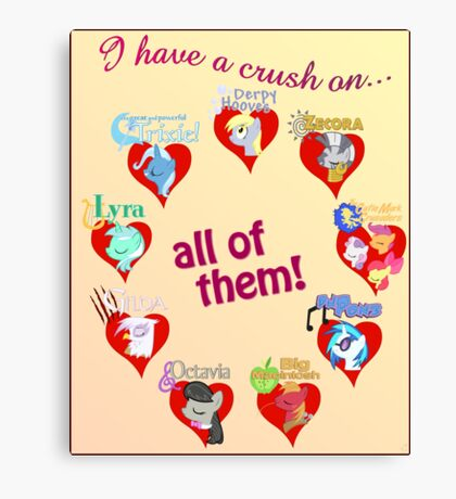 I have a crush on... all of them! - Poster, part 2 Canvas Print