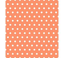 Small White Polka Dots on Coral background Photographic Print