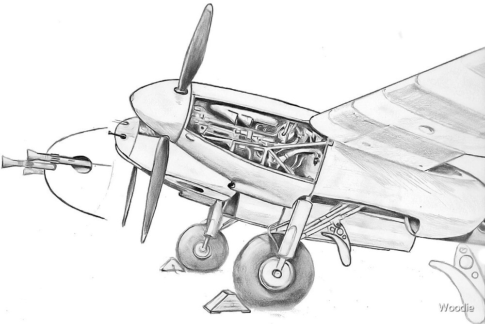 Mossie Engine in pencil by Woodie