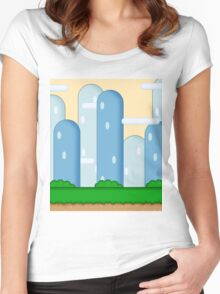Super Mario World Vexel Background Women's Fitted Scoop T-Shirt