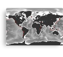 Volcanoes of the World - Miller Projection Print Canvas Print