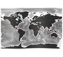 Volcanoes of the World - Miller Projection Print Poster