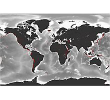 Volcanoes of the World - Miller Projection Print Photographic Print