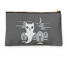 Kawaii cat ghost in spooky graveyard Studio Pouch