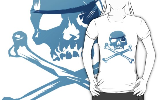 Blue Pirate Skull and Crossbones. by Lotacats